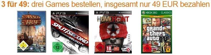 Amazon Konter! 3 Games kaufen und nur 49 Euro bezahlen!