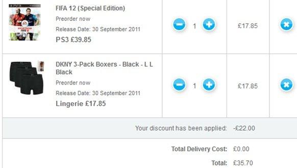 KNALLER! Fifa 12 (Special Edition) + 3 DKNY Boxershorts nur 41,20€ inkl. Versand (Preisvergleich 95€)