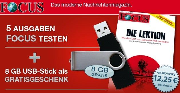 *TOP!* 5 Ausgaben Focus für 12,25€ (anstatt 17,50€) + GRATIS 8GB USB Stick