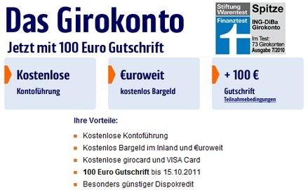 [Update!] Kostenloses ING DiBa: Gehaltskonto eröffnen + 100€ Prämie (+Kostenlose VISA)