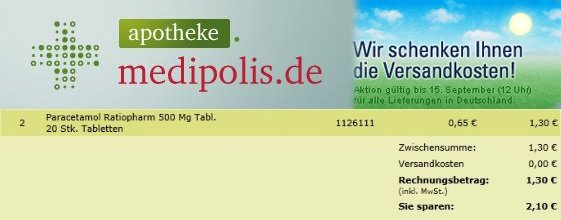 *Update* Medipolis keine Versandkosten! (20 Tabletten Paracetamol 500mg nur 0,65€ inkl. Versand)