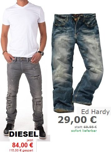 Marken Jeans reduziert (Diesel ab 89€, Hilfiger 45€)