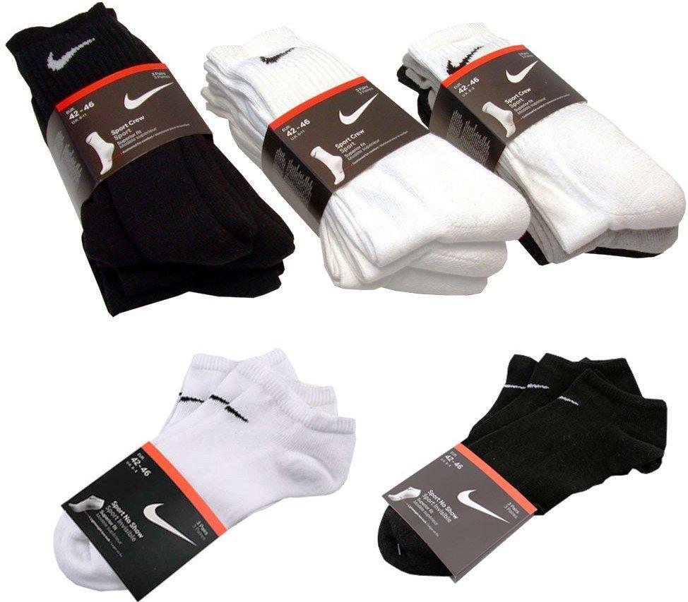 [ebay Wow Morgen?] Nike: 6 Paar Sport oder Sneaker Socken in Schwarz, Weiß oder Grau inkl. Versand 12,99€