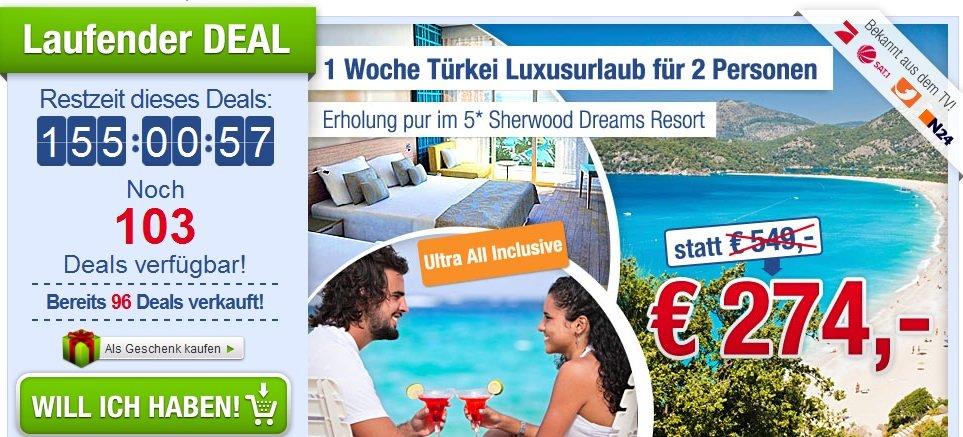 [Türkei Schnäppchen Urlaub!] Eine Woche für 2 Personen im 5* Sterne Hotel All Inklusive nur 137€ pro Person!