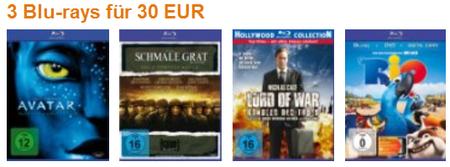 3 Blu rays für 30€ inkl. Versand (z.B. Avatar, Wall Street, Rio) & Pirates of the Caribbean – Fremde Gezeiten für 12,90€