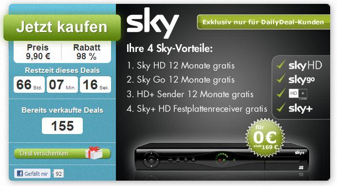 12 Monate exklusives Sky Paket durch DailyDeal! Bundesliga, Sport, die neusten Filme, TV Serien u.v.m. auch in HD   Gutschein nur 9,90€