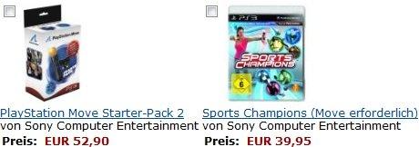 PS3 Move Starter Pack 2 + Sports Champions nur 52,90€ inkl. Versand (Preisvergleich 75€)