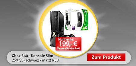 [Xbox 360] Slim 250 GB in schwarz bei meinpaket.de für nur 199€ inkl. Versand