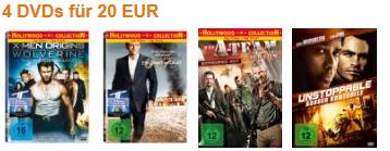 Amazon! DVD Aktion: 4 DVDs für 20€ inkl. Versand.