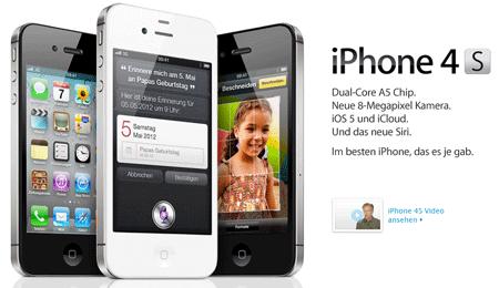 [iPhone 4S günstig mit Vertrag!] iPhone 4s 39€ Zuzahlung + Vodafone Superflat Internet Wochenende für 24,95€/Monat