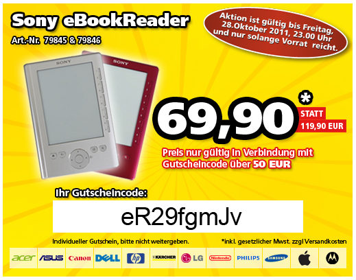 [eBook Reader] Sony PRS 300 Pocket Edition, B Ware mit Sony Tasche inkl. Versand 69,90€