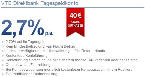 [Tipp!] 40€ Startguthaben geschenkt + 2,7% Zinsen bei Tagesgeldkonto der VTB (Keine Schufa Abfrage)