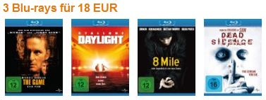 3 Blu rays für nur 18€ inkl. Versand