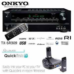 [iBOOD] Megabundle: Onkyo TX SR309 5.1 Kanal AV Heimkinoreceiver und Q Waves QuicklinkTV wireless TV inkl. Versand 238,90€