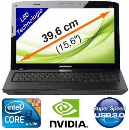 Notebook: MEDION mit Core i3, 39,6cm und USB 3.0, 640GB, 4GB inkl. Versand 379€