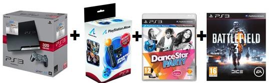[PS3 Bundle Schnäppchen!] PS3 320GB + Move Starter Pack + DanceStar Party + Battlefield 3 nur 279€ (Preisvergleich 344€)