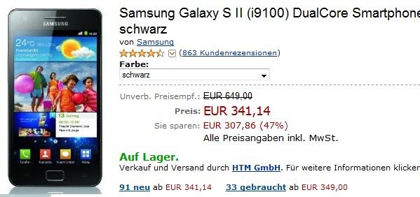 [Preisfehler??!] Samsung Galaxy S II (i9100) DualCore Smartphone nur 341,14€ (Preisvergleich ~400€)