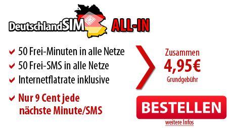 [DeutschlandSIM] 50 Freiminuten + 50 Frei SMS + 200MB Internetflat für nur 4,95€/Monat   ohne Vertragsbindung!