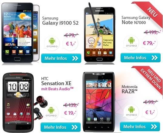 Motorola RAZR, Samsung S2 nur 1€ + Call & Surf Mobil Special für 29,90€/Monat (weitere TOP Handys)
