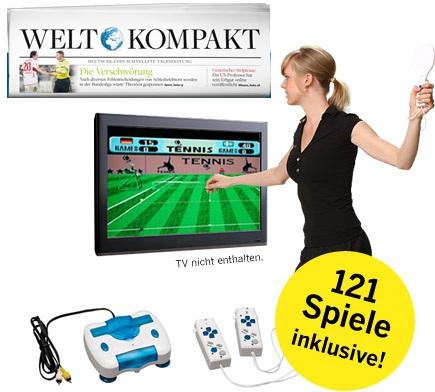 [mini Abo] 4 Wochen Welt Kompakt + Spielekonsole mit 121 Spielen & Move Controllern +5€ Shopping Bon nur 15,90€