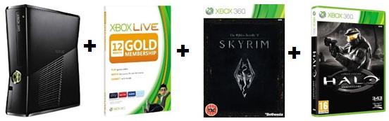 [Schnäppchen!!!] Xbox 360 Slim 250GB + Xbox Live Gold + The Elder Scrolls V: Skyrim + Halo: Combat Evolved nur 240€ (Vergleich 334€)