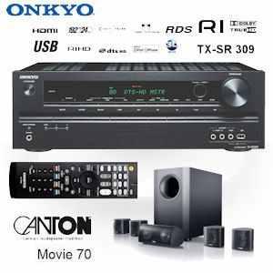 [iBOOD] Heimkinosystem: Onkyo TX SR309 mit 5.1 Kanal AV Receiver und Canton Movie 70 SW mit aktivem Subwoofer, inkl. Versand 358,90€