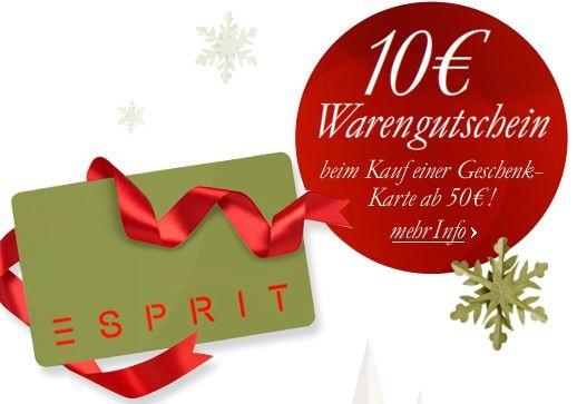 [Esprit] 50€ Gutschein kaufen, gratis 10€ Gutschein dazu!