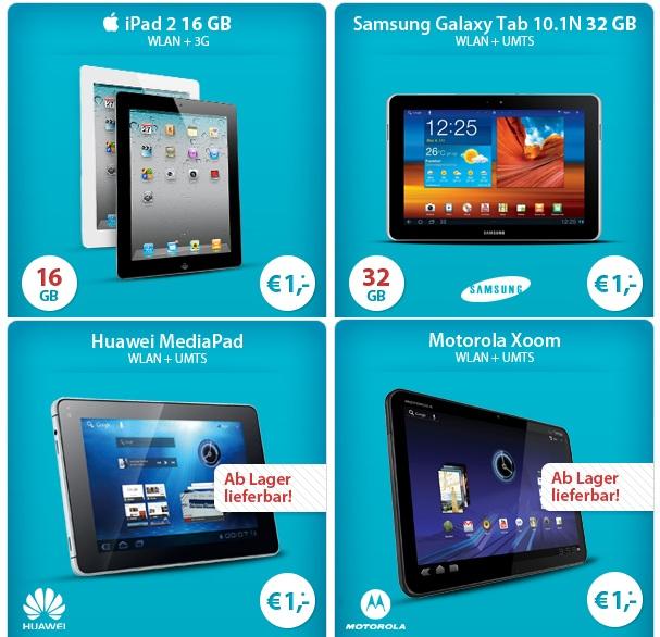 [Günstige Tablet Verträge!] iPad 2, Galaxy Tab, Motorola Xoom, ab nur 1€ + Surf & Flat Vodafone (5GB) ab 15,99€/Monat *Update!*
