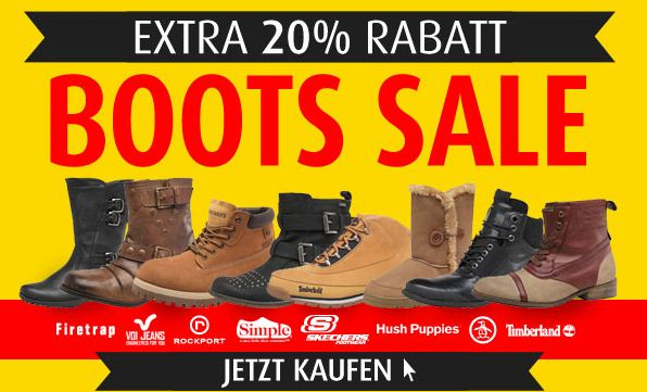 [mandmdirect] Boots Sale   mit 20% Extra Rabatt! Günstige Marken Winterboots wie Timberland, Hilfiger, Diesel...