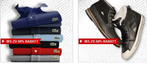 [Sale über Sale!] Lacoste Sale bis zu 50% Rabatt. + s.Oliver Sale plus 20% Gutschein + bis zu 60% Rabatt bei dfl auf einiges