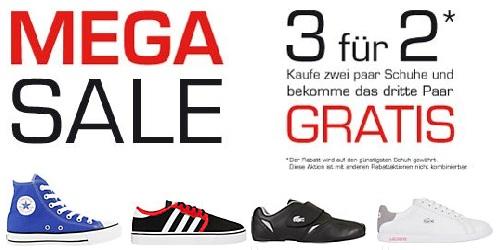 [Schuhschnäppchen] 3 Paar Schuhe kaufen, nur 2 bezahlen – oder 2 kaufen & 1,5 bezahlen + SALE