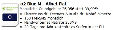 [Günstiger All Net Vertrag!] o2 Blue M AllNet Flatrate (alle Handynetze) + Inet Flat + 150 SMS/Monat für 25,95€/Monat