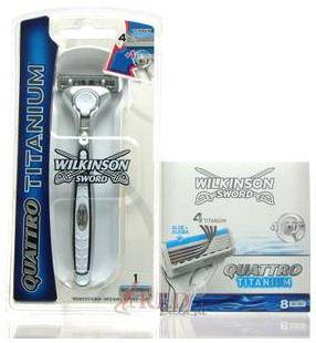 [Wieder da!] Wilkinson Quattro Titanium Sparpack   Rasierer + 9 Klingen für nur 11,39€ inkl. Versand