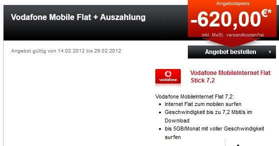 Vodafone Mobile Internet Flat für 10,41€/Monat statt 34,90€ mit 5GB Volumen (durch 620€ Auszahlung)