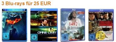 3 Blu rays für nur 25€ inkl. Versand