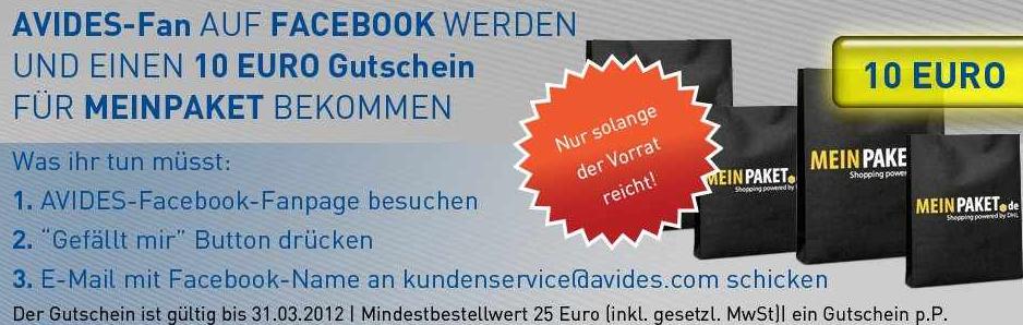 [meinpaket.de] Gefällt mir: und 10€ meinpaket Gutschein auf Facebook von Avides kostenlos abgreifen (MBW 25€)!