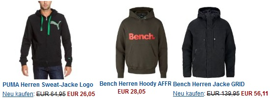 [Amazon] Winterschlussverkauf Sportswear bis zu 50% reduziert! (Bench Hoodie ab 28€...etc)