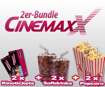 [DailyDeal] Fehler? CinemaxX Kino Doppel   4 Tickets + plus 4 Softdrinks (0,5 l) + 4 x Popcorn für nur 25,80 €