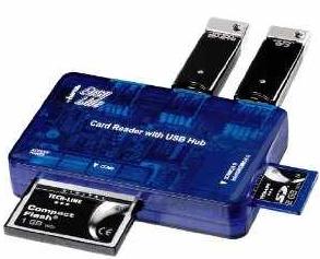 Hama EasyLine für 3,99€   Card Reader mit 3 fach USB Hub