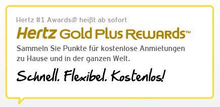 [Autovermietung!] Hertz Gold Plus Status + kostenfreier Miettag!