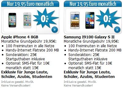 iPhone 4 oder Galaxy S2 für 0€ mit Vodafone Junge Leute + Vodafone Allnet 100 nur 19,95€/Monat