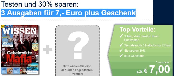 [Probeabo] 3 Ausgaben Hörzu Wissen für nur 7€ + 15€ Gutschein als Prämie!