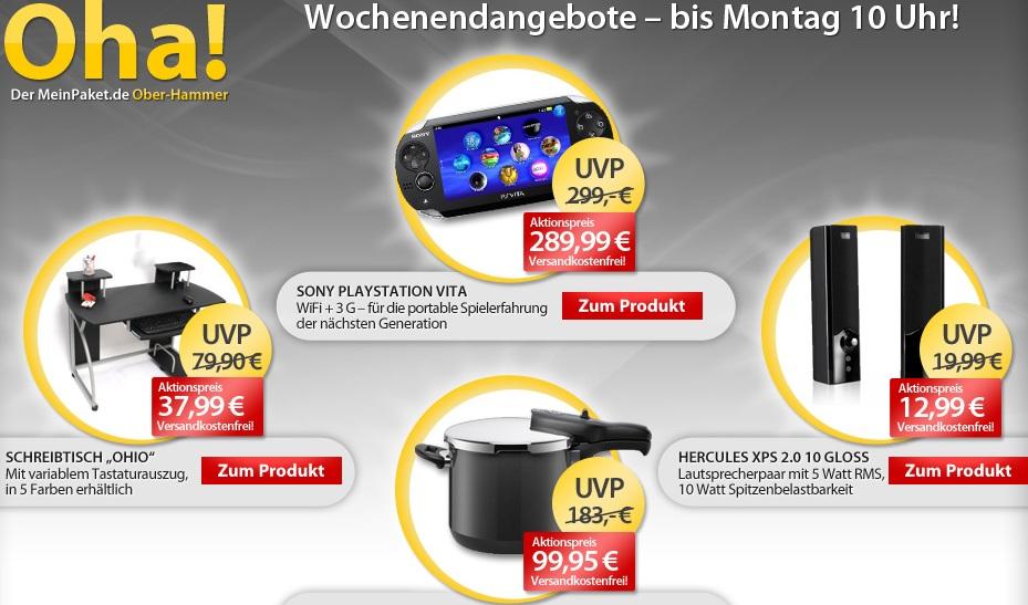 [meinpaket.de] Die OHAs zum Wochenende! Z.B. PS3 Vita & Silit Schnellkochtopf