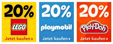 [Toys R Us] 20% Rabatt auf LEGO, Playmobil, Play Doh und mehr...