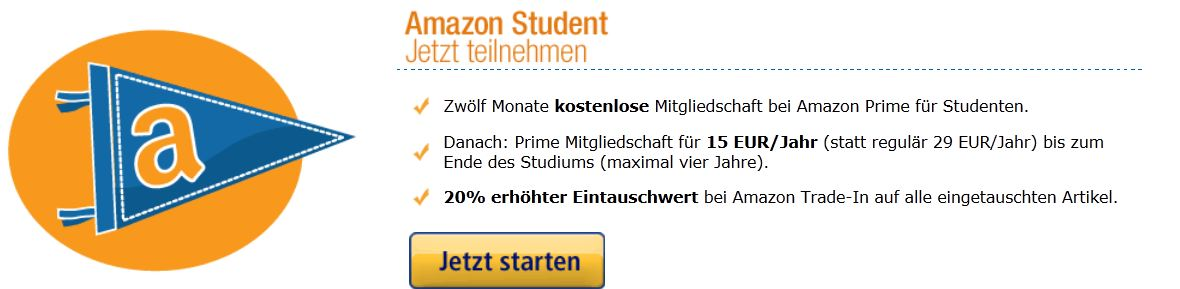 [Amazon] Tip! Prime Service: 1 Jahr kostenlos für Studenten + 5€ Gutschein!
