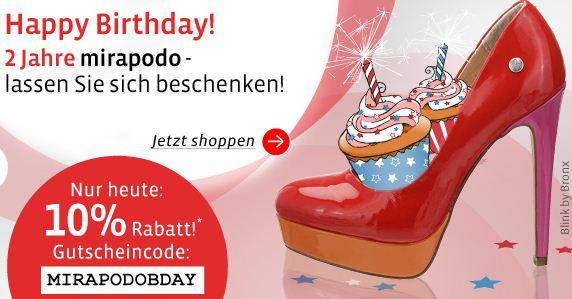 [mirapodo] Nur heute: 10% Rabatt auf ausgewählte Damen  & Herrenschuhe + 5€ für Newsletteranmeldung