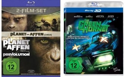 The Green Hornet 3D Blu ray für 13,97€ inkl. Lieferung & Planet der Affen Doppel Blu Ray (inkl. Prevolution ) nur 10,97€