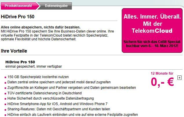 [Noch immer möglich!] HiDrive Pro 150 mit 150GB Speicher für 12 Monate lang kostenlos nutzen! Ohne Kündigung, endet automatisch!