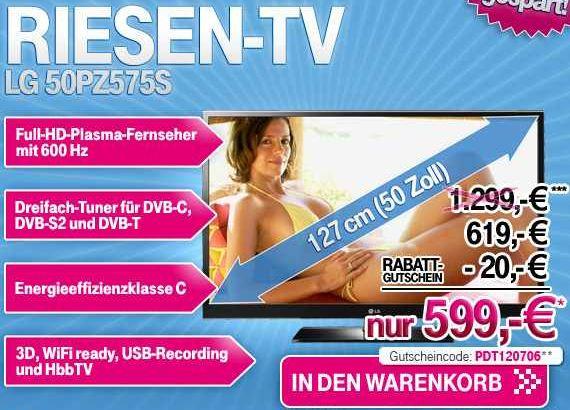 [Wieder da!] Knaller 50er 3D Plasma TV von LG mit 6ooHz...uvm. für nur 599€!
