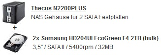 [Preisfehler?] Thecus N2200PLUS 2x2TB NAS System für 386€ inkl. Versand (Preisvergleich 519€)